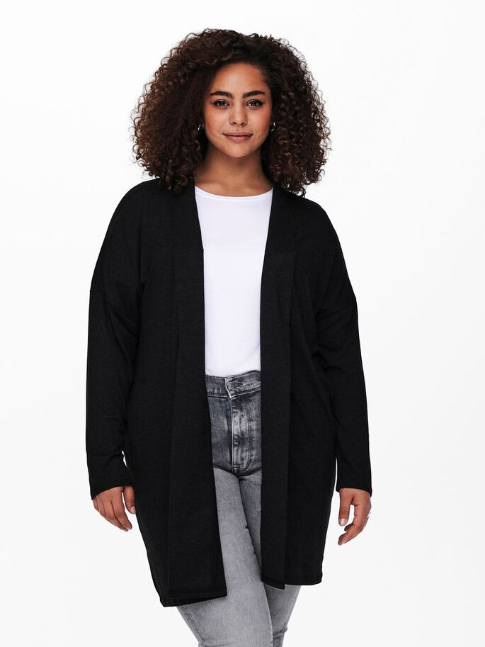 CURVY LOOSE FITTED CARDIGAN, Black, large