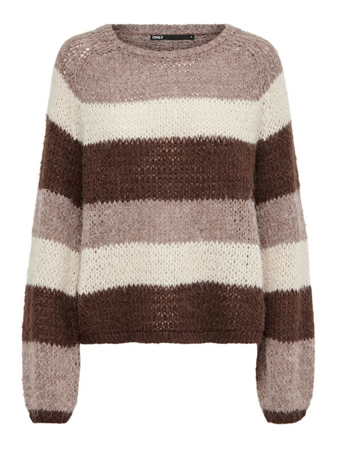 STRIPED KNITTED PULLOVER, Brownie, large