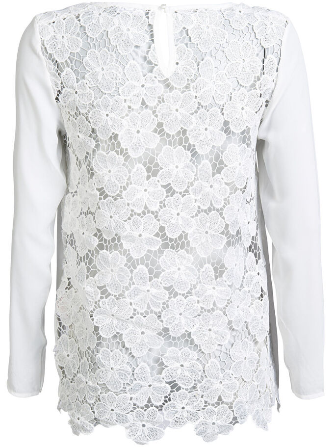 LACE DETAILED LONG SLEEVED TOP, Cloud Dancer, large
