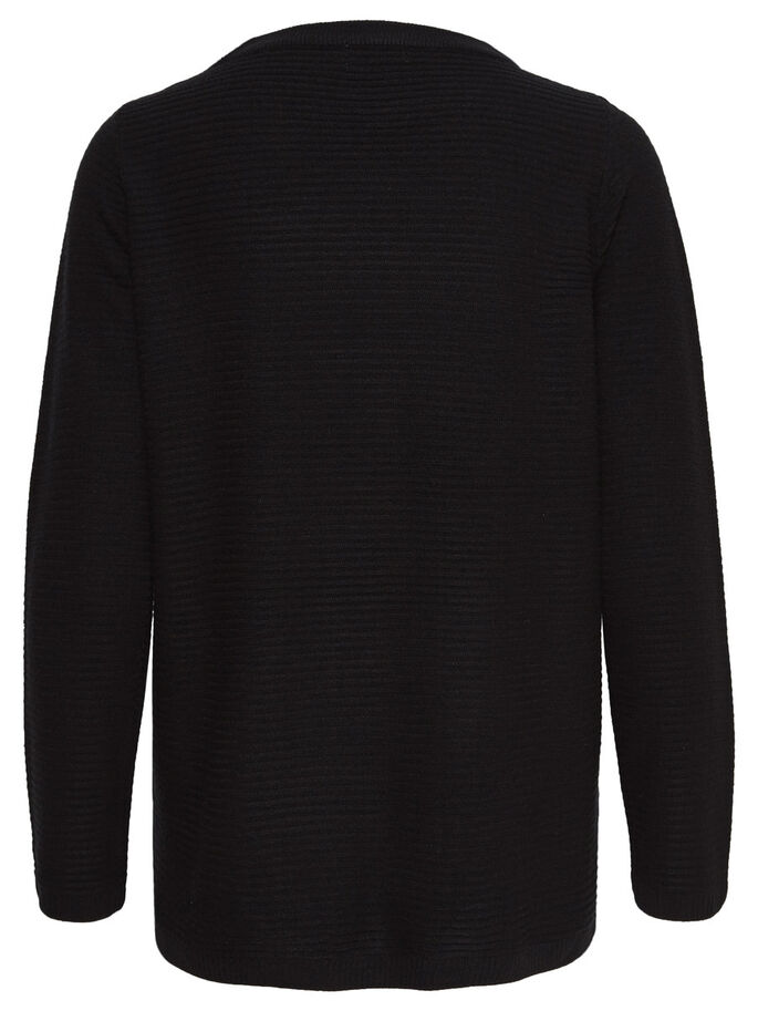 EINFARBIGER STRICKPULLOVER, Black, large