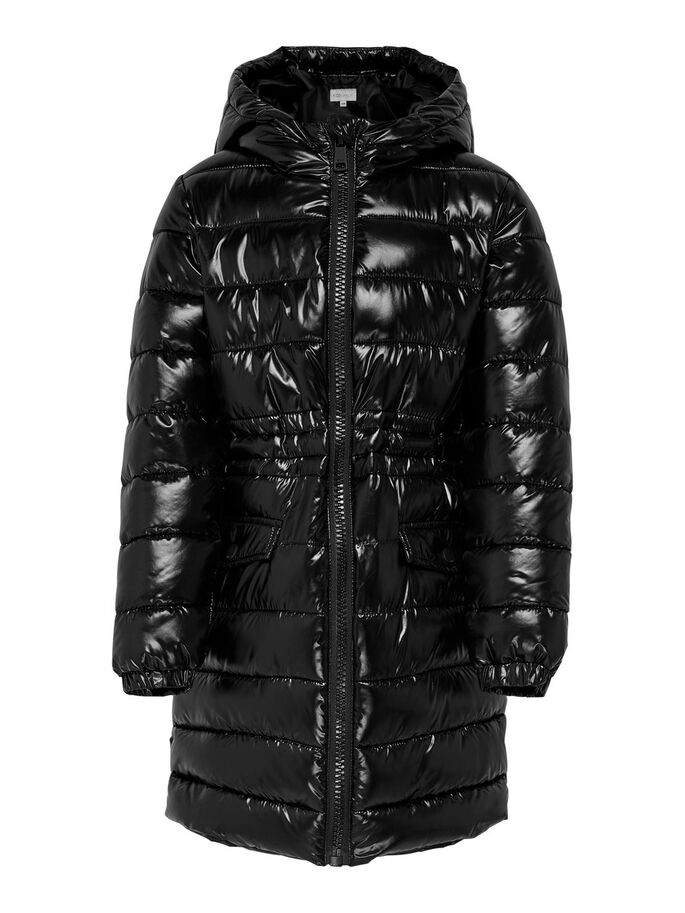 QUILTED PUFFER JACKET, Black, large