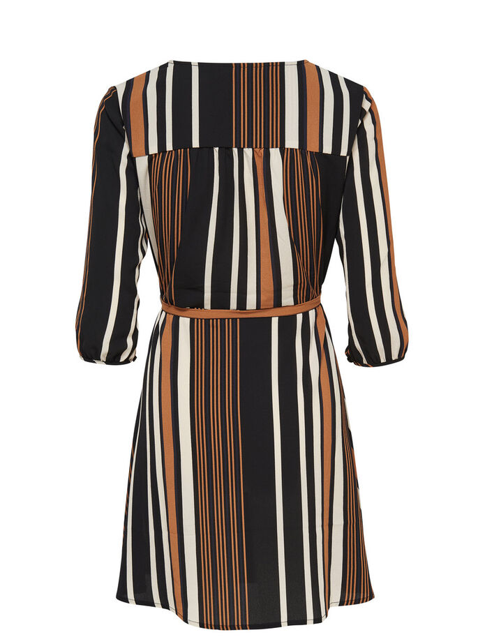 STRIPED DRESS, Black, large