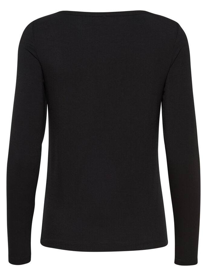 KNITTED LONG SLEEVED TOP, Black, large