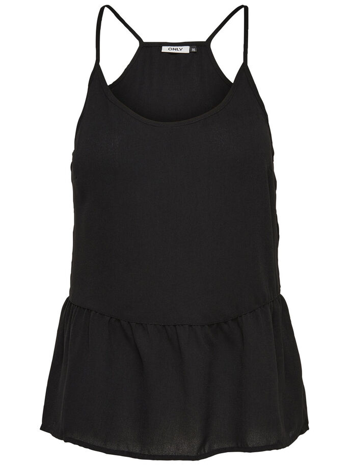PEPLUM SLEEVELESS TOP, Black, large