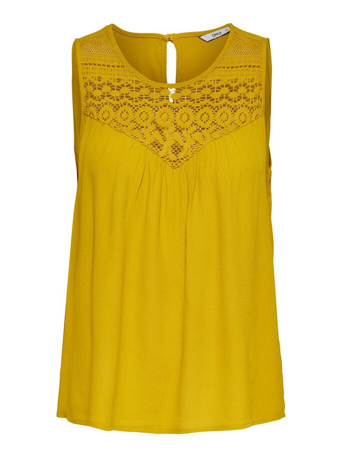 LACE DETAIL SLEEVELESS TOP, Golden Spice, large