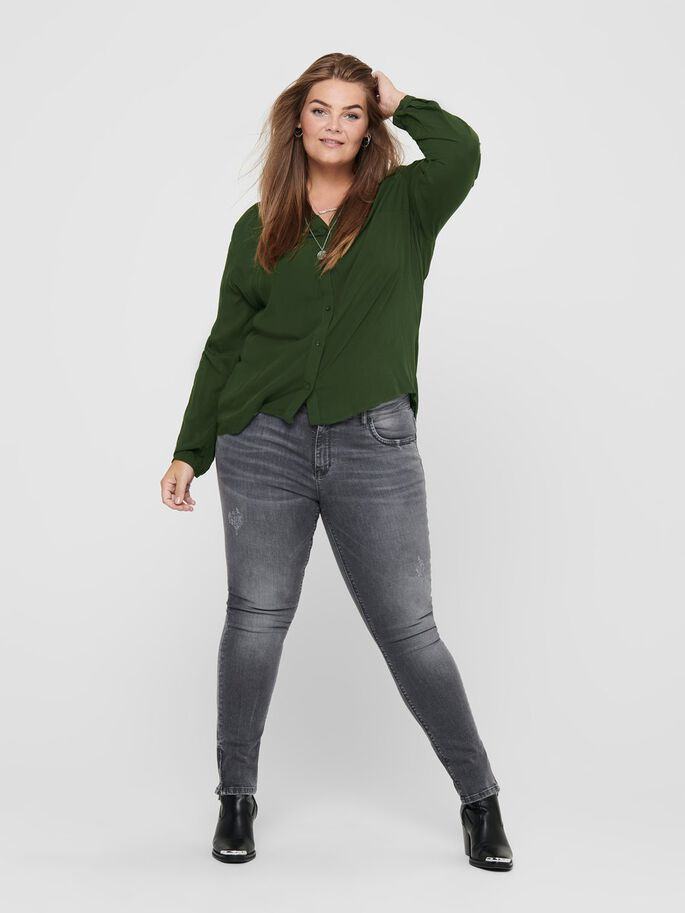 CURVY LONG SLEEVED SHIRT, Forest Night, large