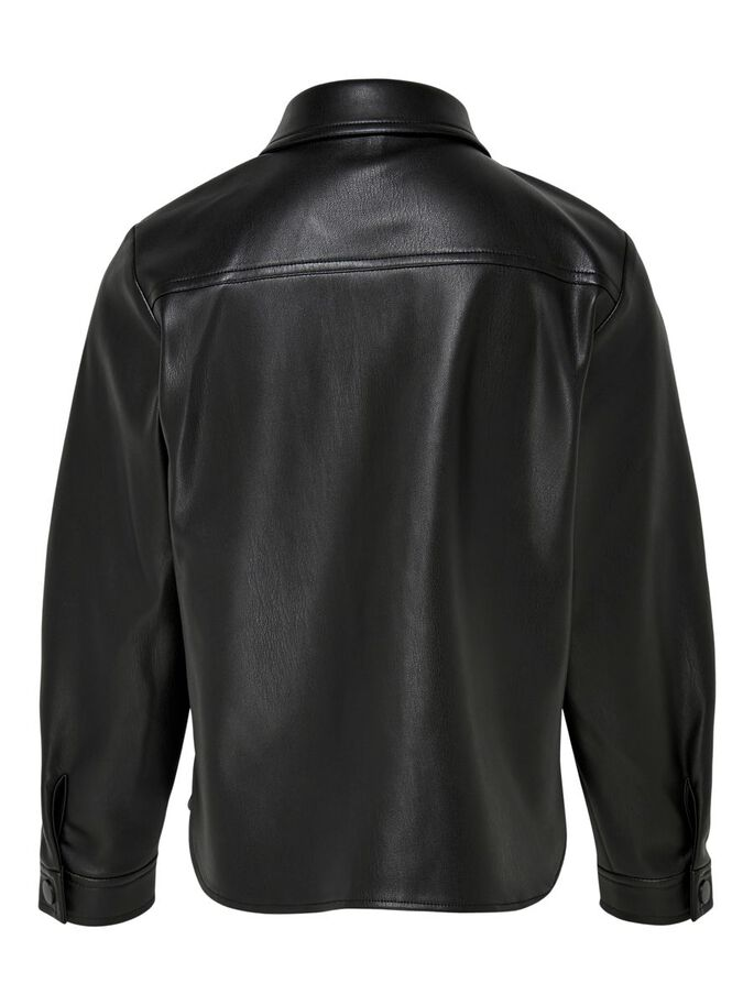 LEATHER LOOK SHIRT, Black, large