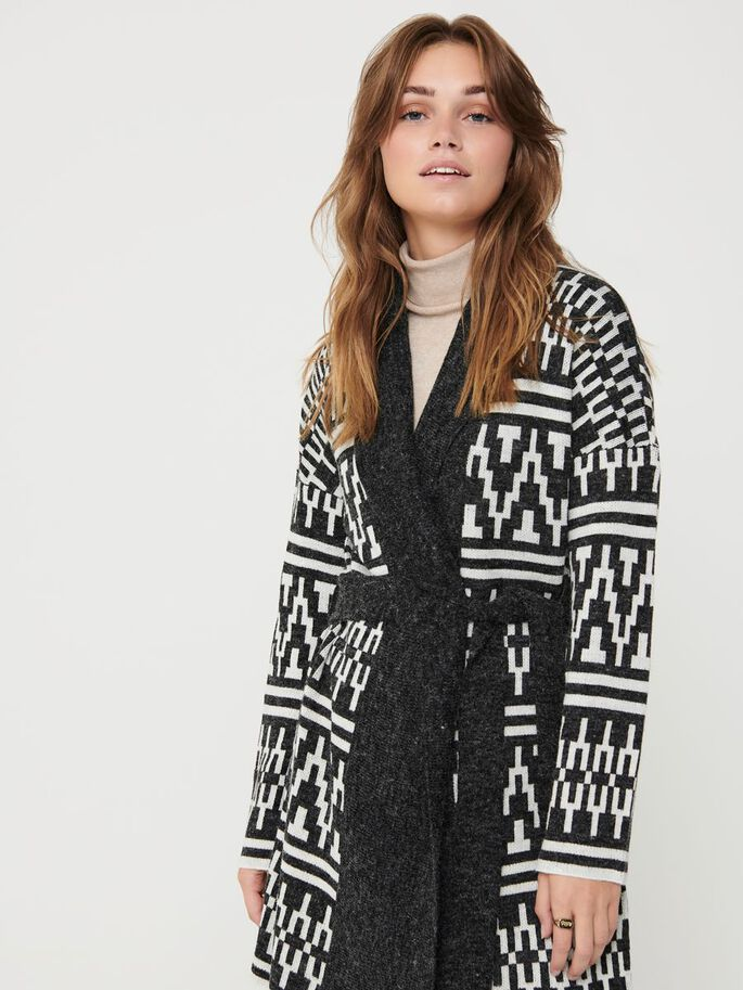 PATTERNED KNITTED CARDIGAN, Black, large