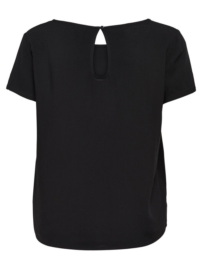 ENSFARVET TOP MED KORTE ÆRMER, Black, large