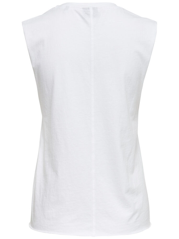 PRINTED SLEEVELESS TOP, Bright White, large
