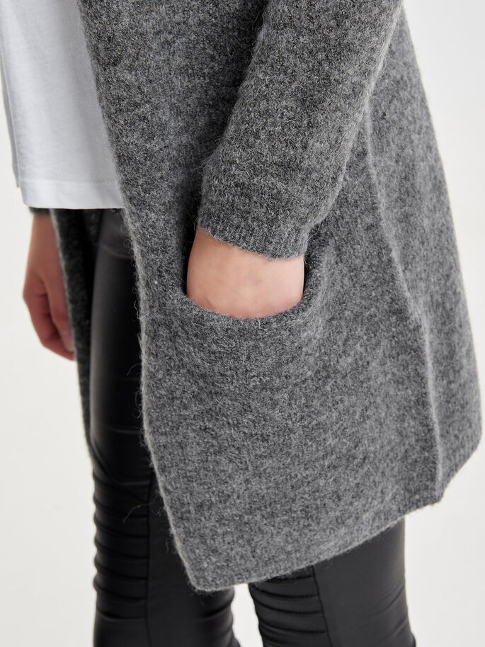 LØS STRIKKET CARDIGAN, Dark Grey Melange, large