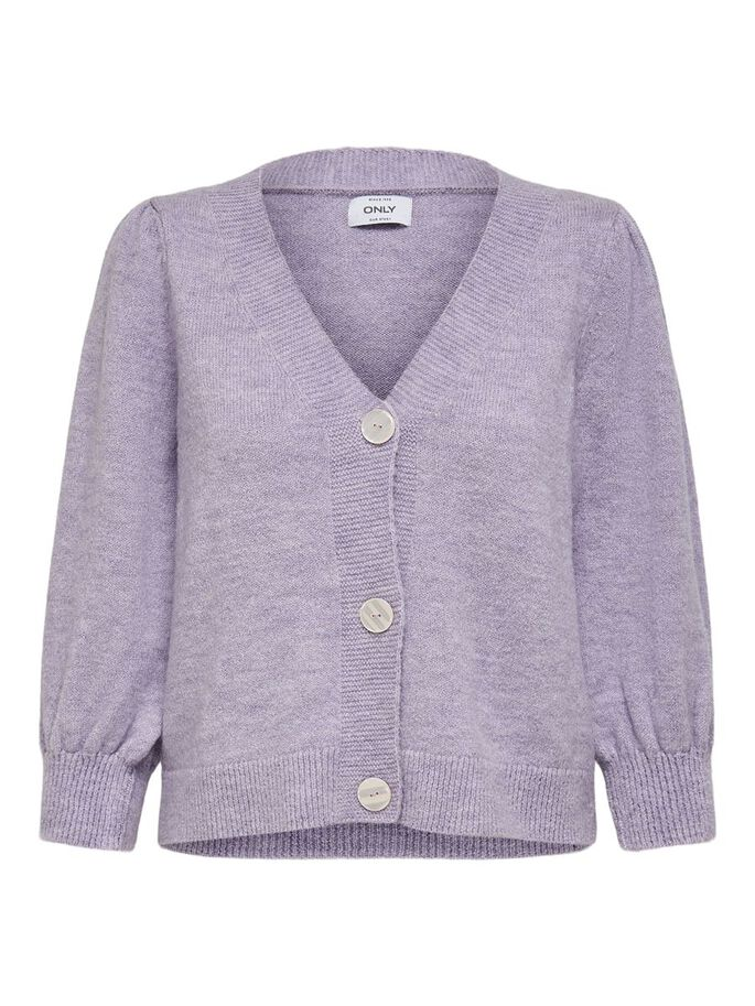 3/4 SLEEVED KNITTED CARDIGAN, Lilac Breeze, large