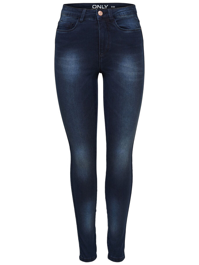 RAVAGE HIGH WAIST BLEU FONCÉ JEAN SKINNY, Dark Blue Denim, large