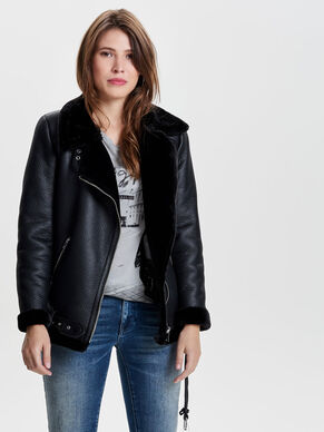 BIKER FAUX LEATHER JACKET