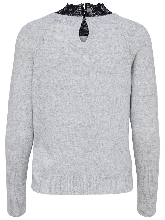 HIGH NECK KNITTED PULLOVER, Light Grey Melange, large