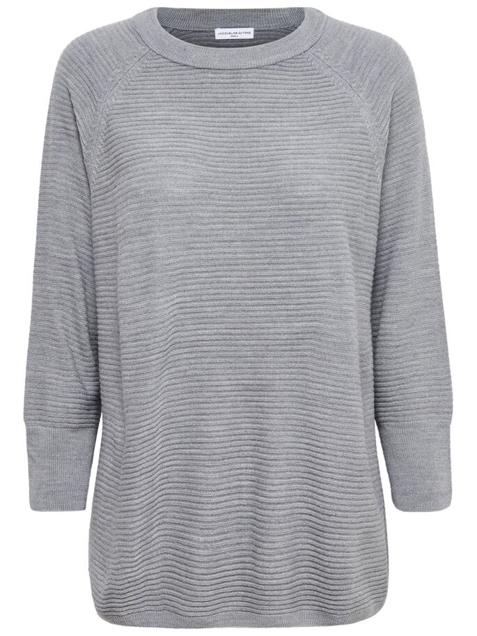 LØSTSIDDENDE STRIKKET TOP, Light Grey Melange, large