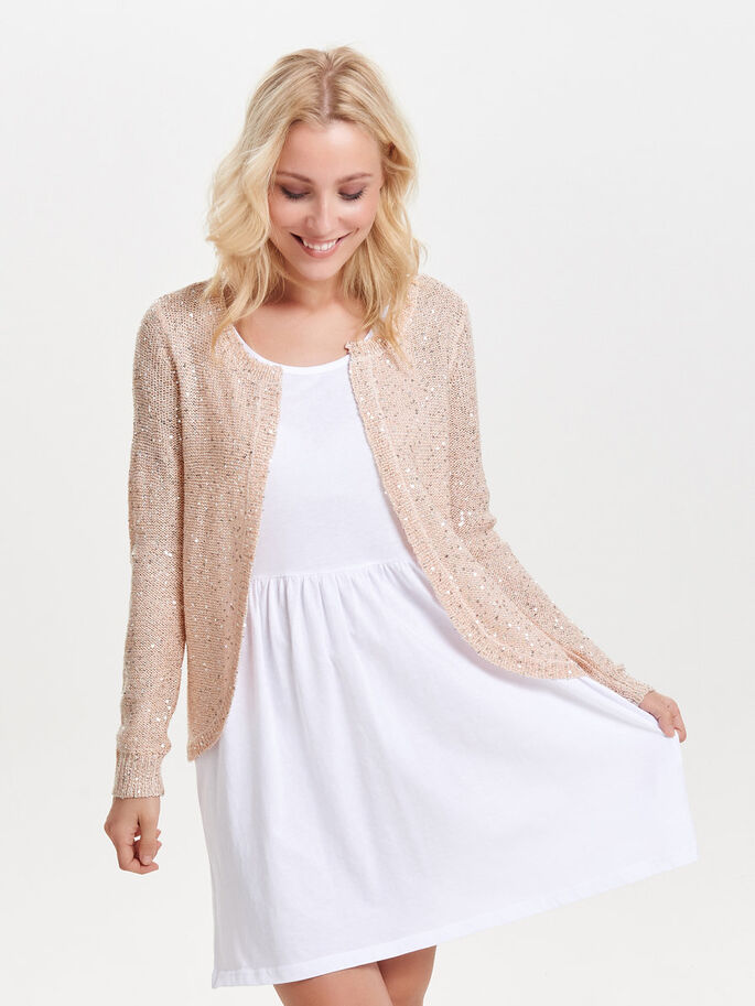 PAILLETTES CARDIGAN EN MAILLE, Peach Whip, large