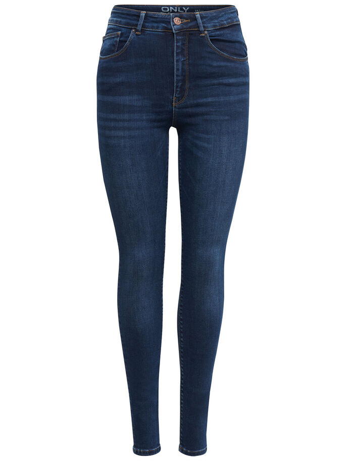 PIPER HIGH WAIST SKINNY FIT JEANS, Dark Blue Denim, large