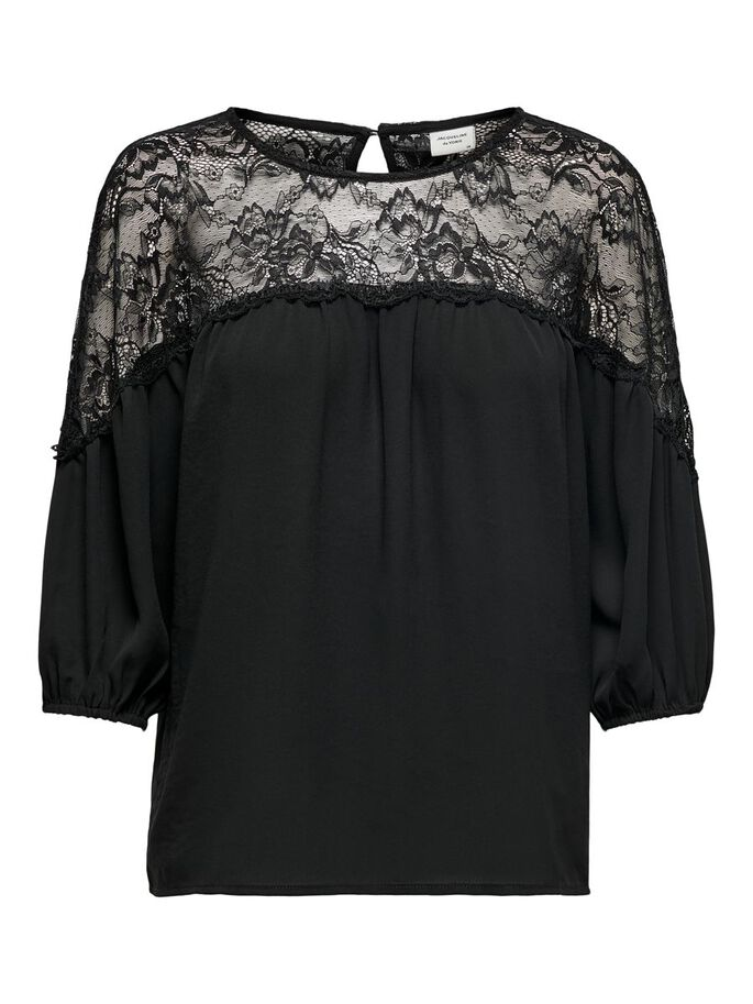 LACE DETAIL TOP, Black, large