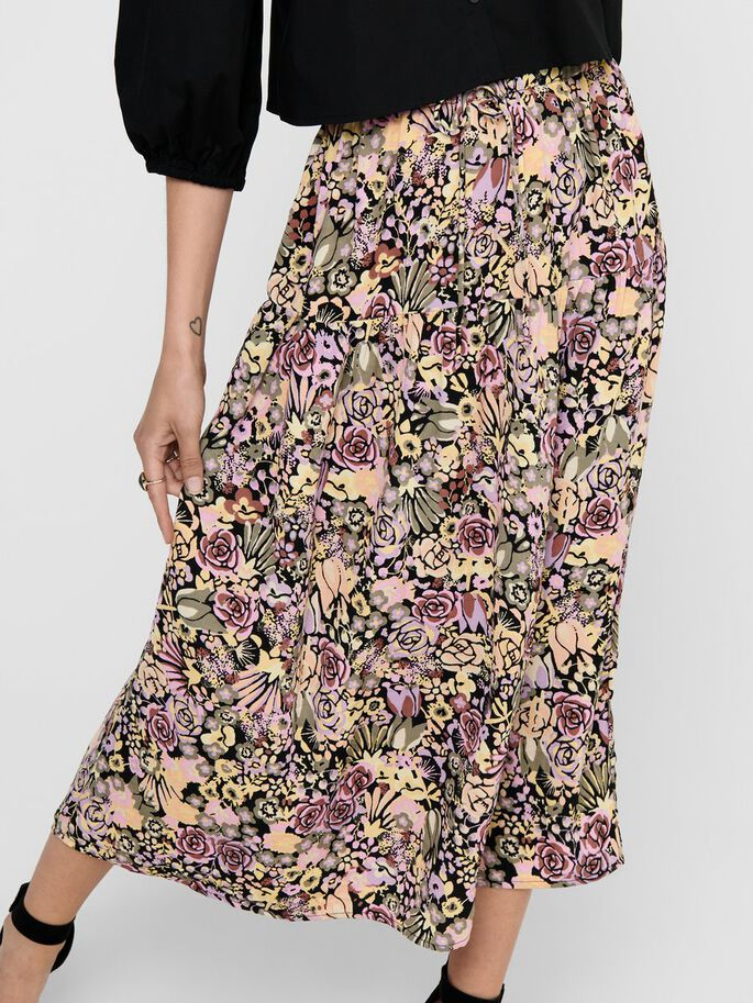PRINTED MAXI SKIRT, Black, large
