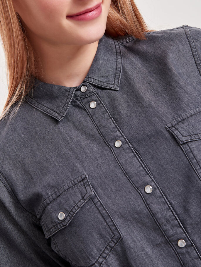LOOSE LONG SLEEVED SHIRT, Dark Grey Denim, large