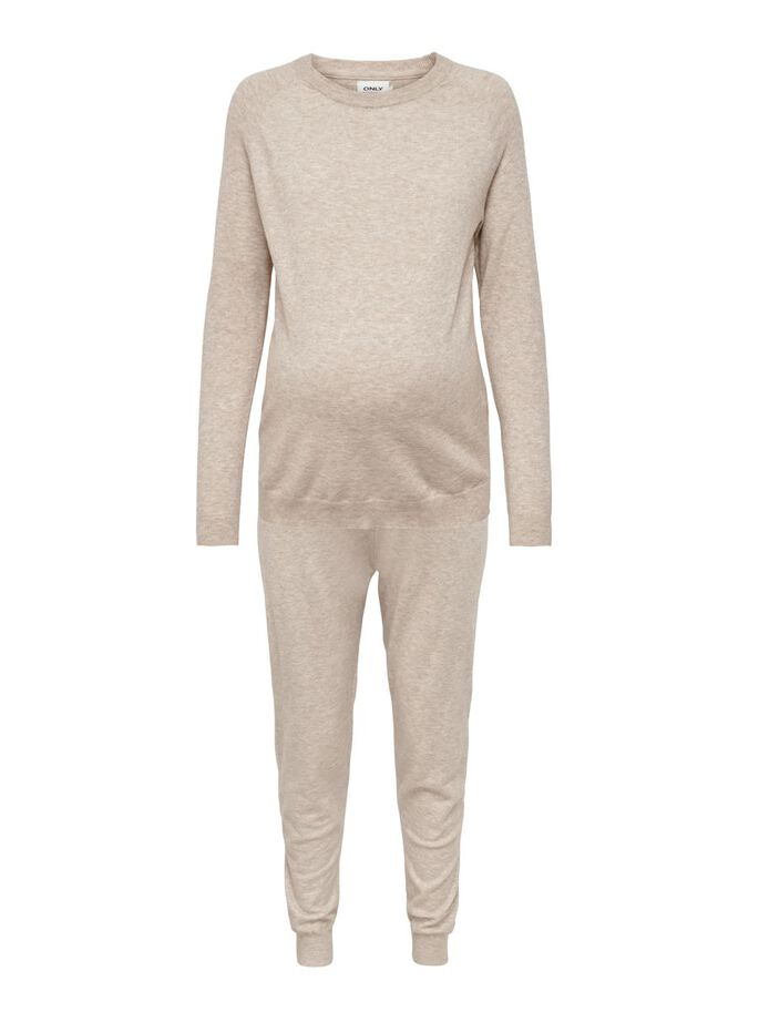 MAMA KNIT SET WITH PULLOVER AND TROUSERS, Humus, large