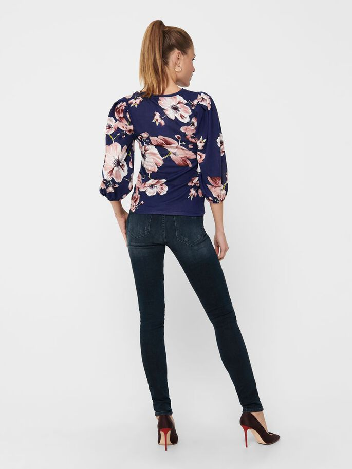 FLORAL 3/4 SLEEVED TOP, Night Sky, large