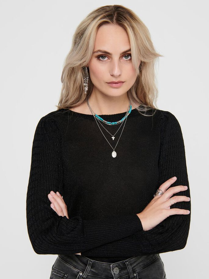 RIB KNITTED PULLOVER, Black, large