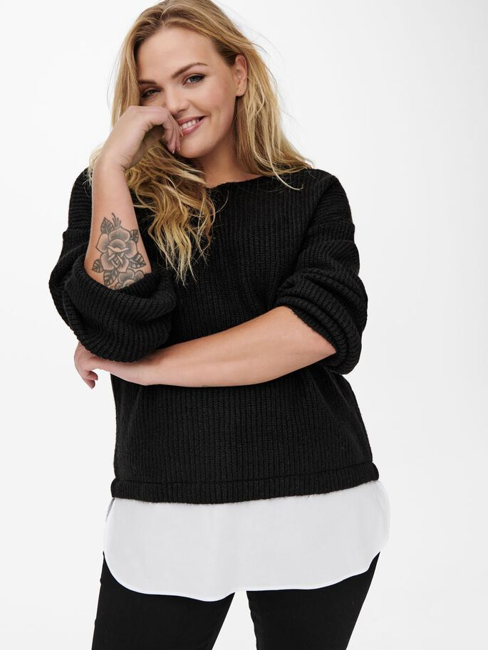 CURVY MIX KNITTED PULLOVER, Black, large