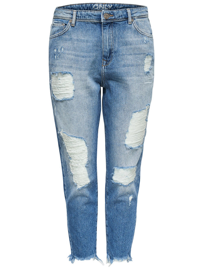 TONNI DESTROYED BOYFRIEND JEANS, Light Blue Denim, large