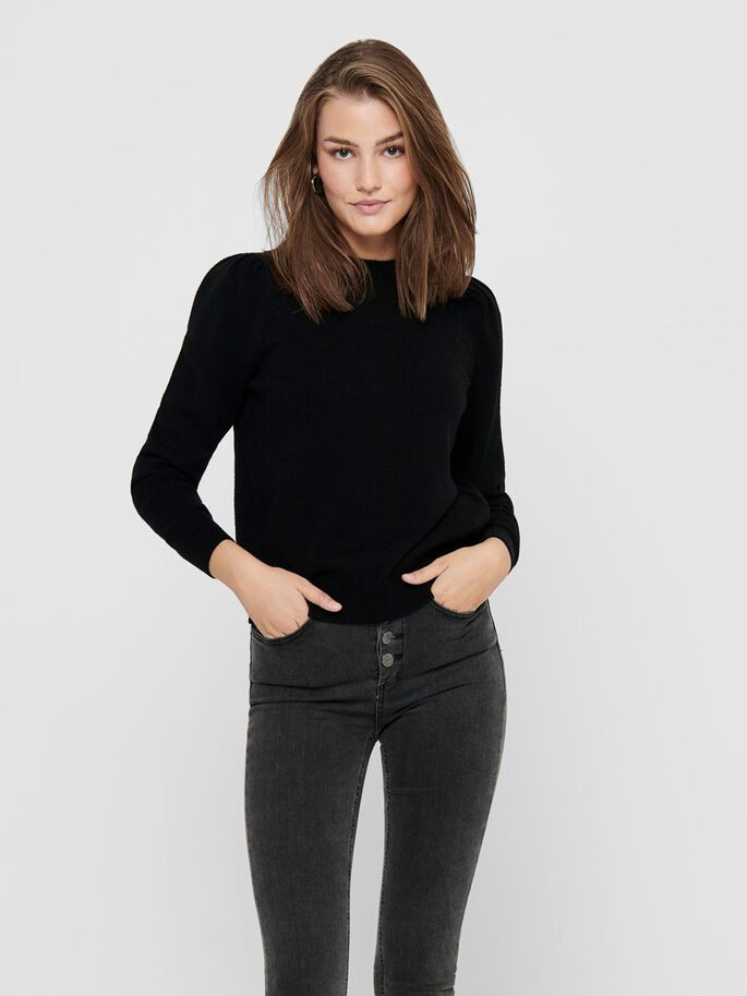 PUFF SLEEVE KNITTED PULLOVER, Black, large