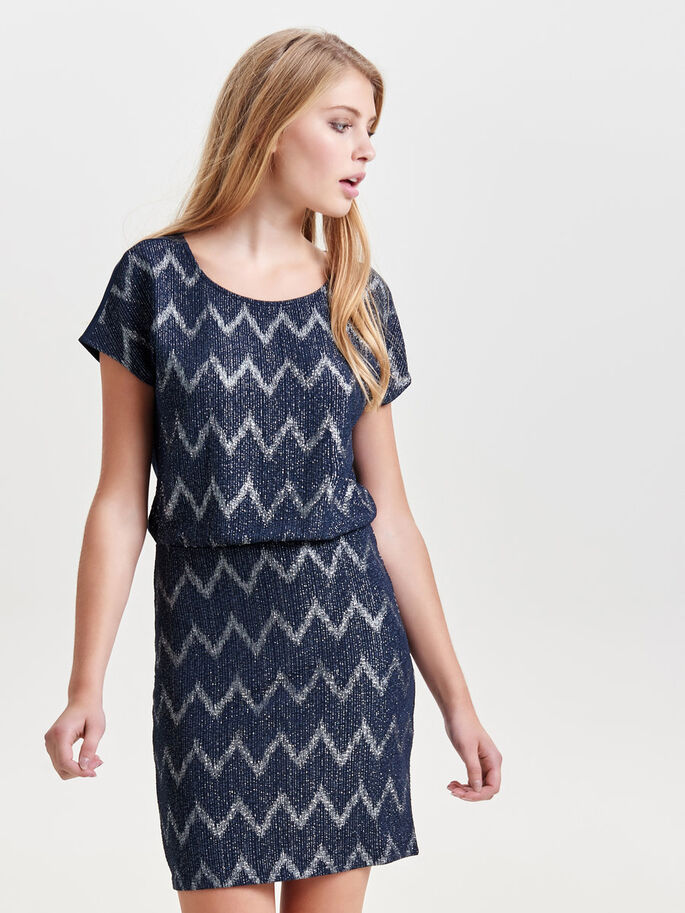 PATTERNED SHORT SLEEVED DRESS, Night Sky, large