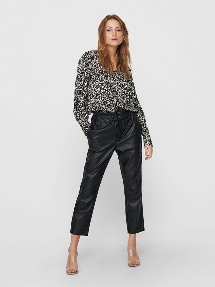 PAPERBAG FAUX LEATHER TROUSERS, Black, large