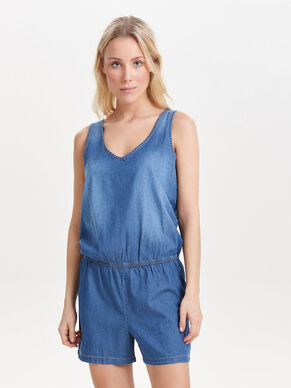 SLEEVELESS DENIM PLAYSUIT