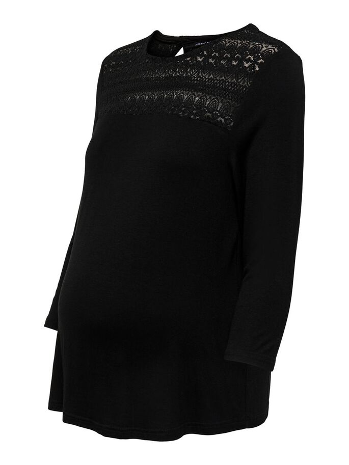 MAMA LACE DETAIL 3/4 SLEEVED TOP, Black, large