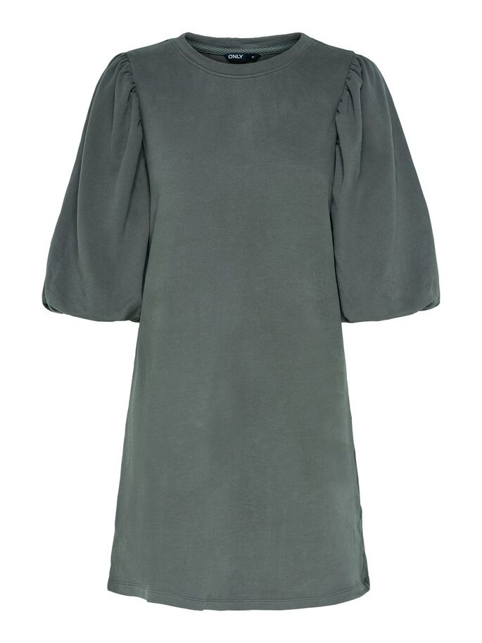 PUFF SLEEVE DRESS, Dark Grey, large