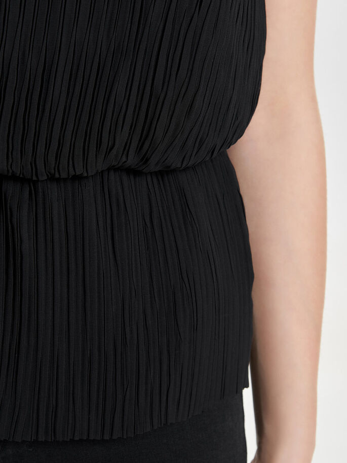 PLEATED SLEEVELESS TOP, Black, large