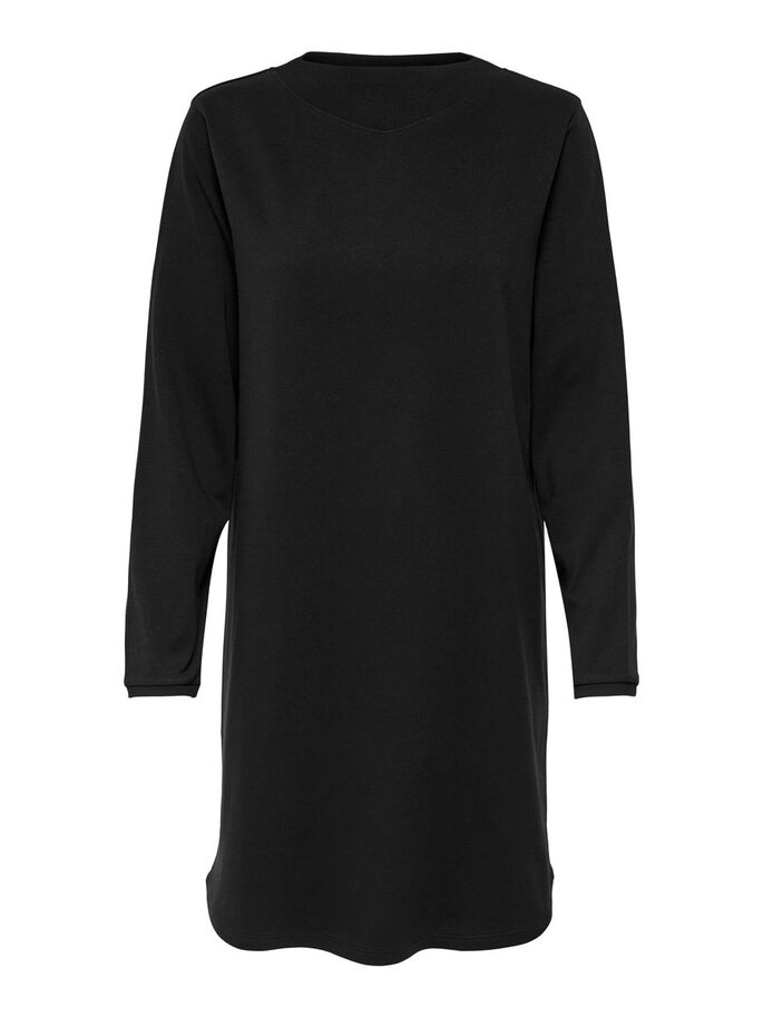 SWEATSHIRT DRESS, Black, large