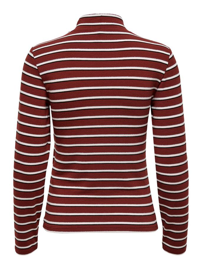 LONG SLEEVED STRIPED TOP, Red Ochre, large