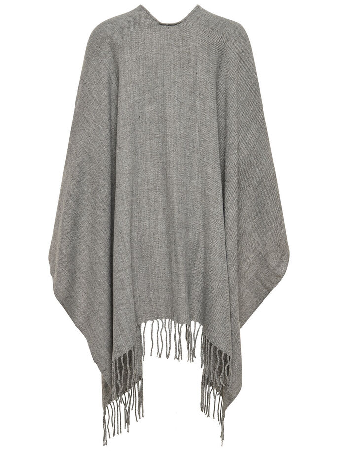 COULEUR UNIE PONCHO, Light Grey Melange, large