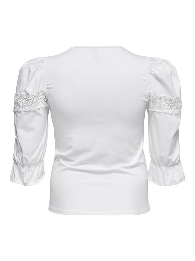 CURVY PUFF SLEEVE 3/4 SLEEVED TOP, Bright White, large