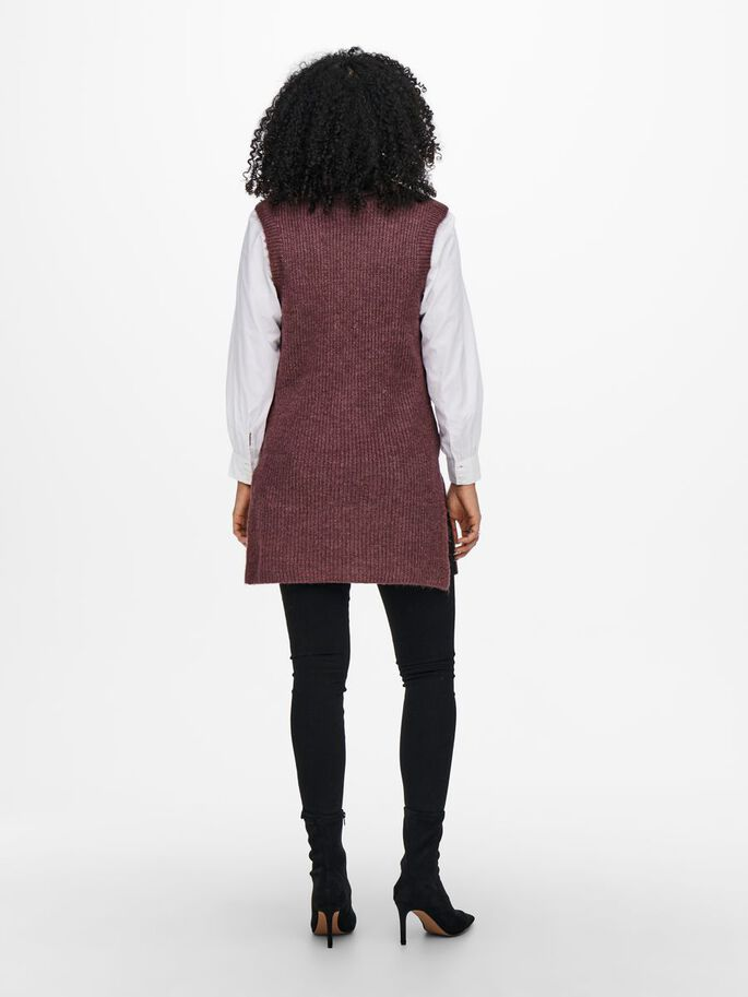 ROLL NECK WAISTCOAT, Rose Brown, large