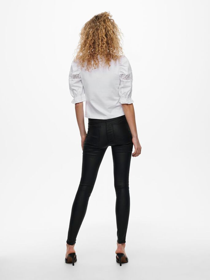 PUFF SLEEVE TOP, Bright White, large