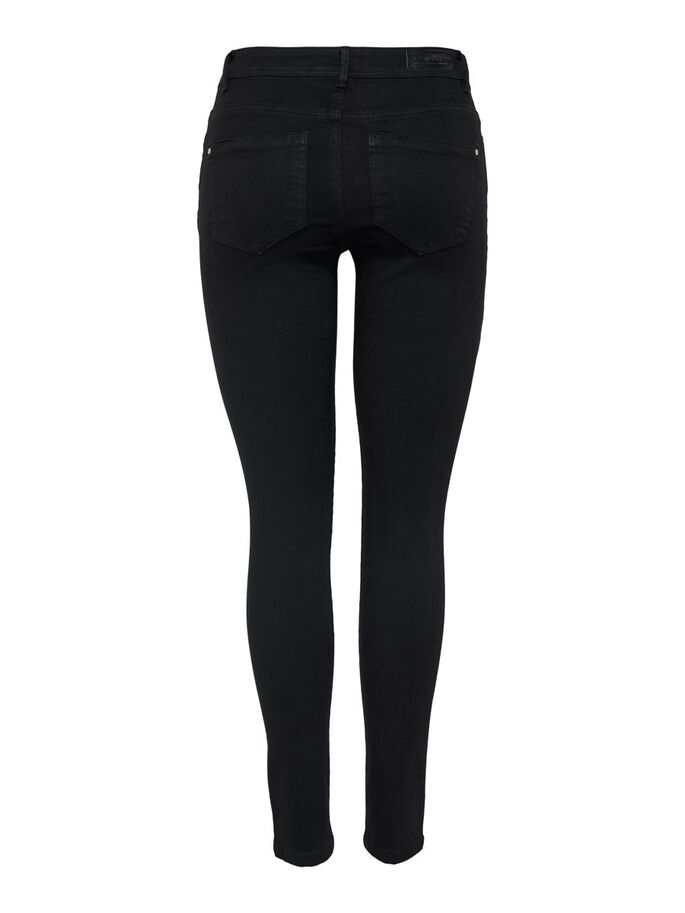 ONLWAUW LIFE MID SKINNY FIT JEANS, Black Denim, large
