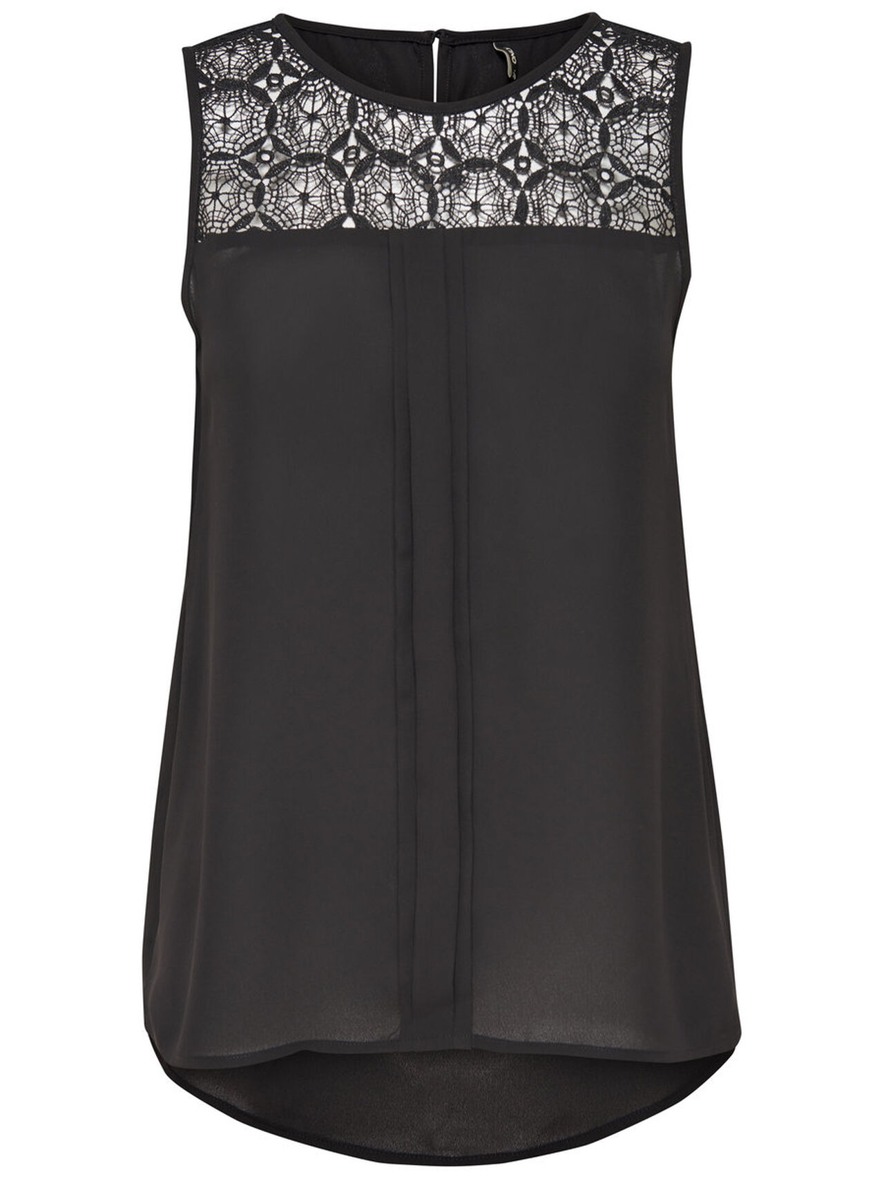 ONLY Lace Panel Sleeveless Top Women Black