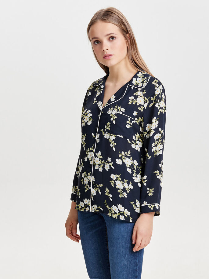 FLOWER LONG SLEEVED SHIRT, Black, large