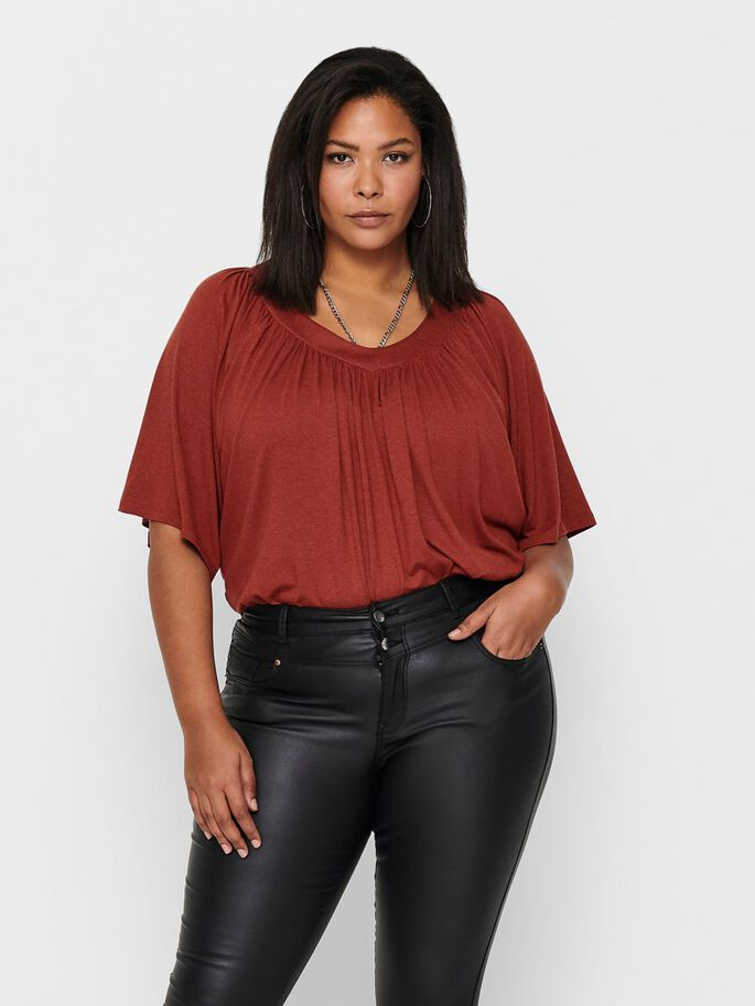 CURVY LOOSE FITTED TOP, Burnt Henna, large