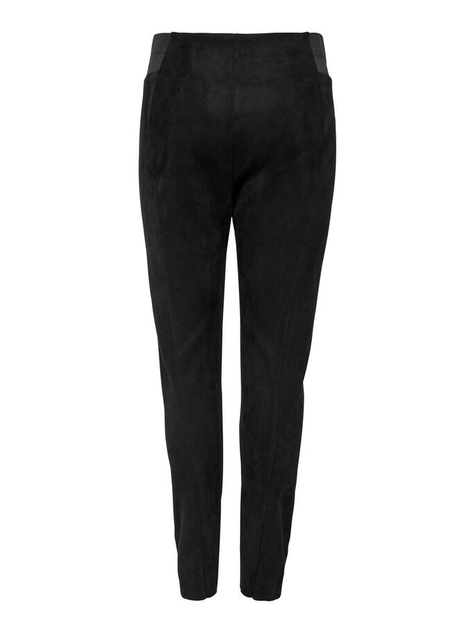 FAUX SUEDE LEGGINGS, Black, large