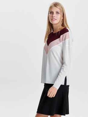 CONTRAST COLORED LONG SLEEVED TOP