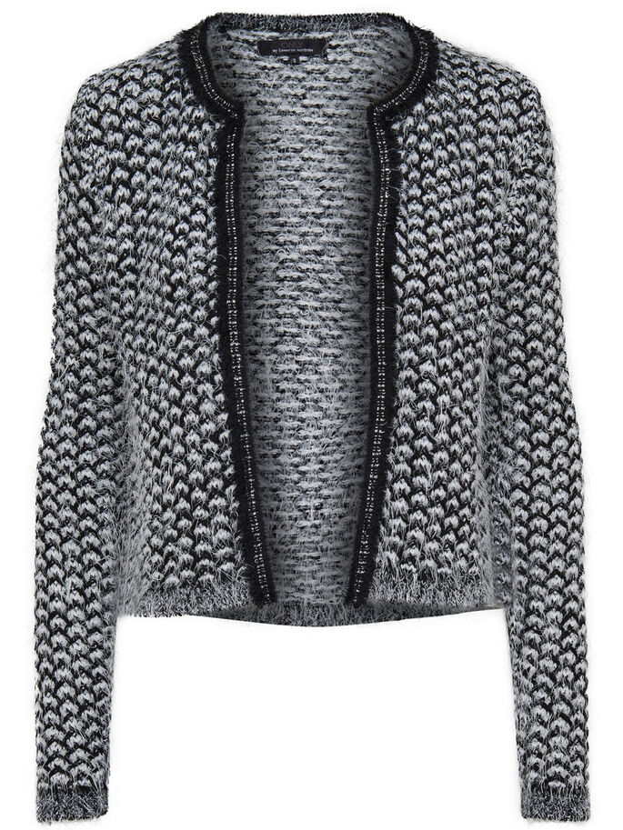 SHORT KNITTED CARDIGAN, Black, large
